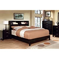 Furniture of America Metro Platform Bed with Bookcase Headboard and Light Design, California King, Espresso