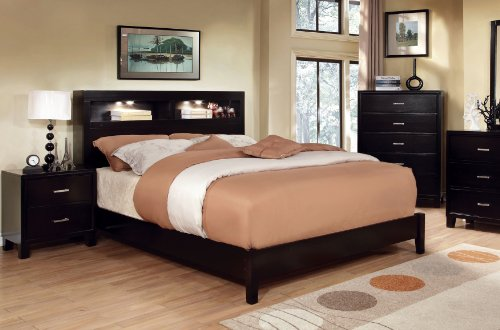 Single Bookcase Headboard Beds (Furniture of America Metro Platform Bed with Bookcase Headboard and Light Design, California King, Espresso)