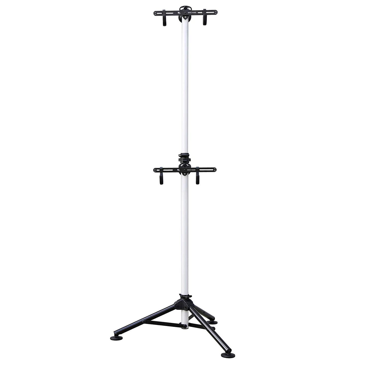 Bikehand Indoor 2 Bike Bicycle Vertical Gravity Hanger Floor Parking Rack Storage Stand for Garages or Apartments Nook Hook for Bicycles – Hanging Your Road, Mountain or Hybrid Bikes