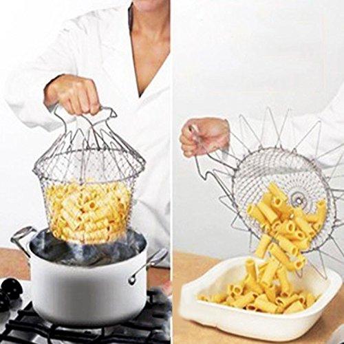 Fry Basket - Foldable Steam Rinse Strain Fry Chef Basket Strainer Net Kitchen Portable Cooking Tool - Oilless Fryer Basket