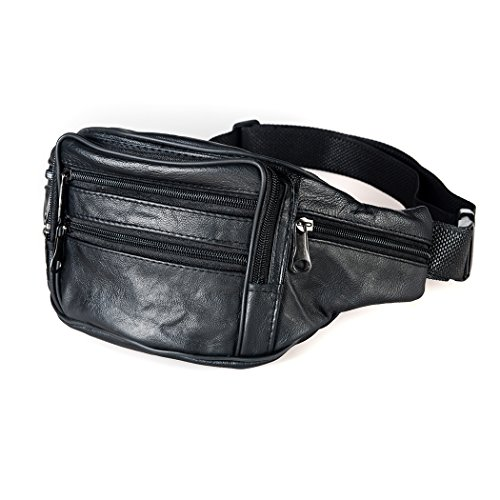 Beautier Cowhide Leather Large Size 7 Pockets Fanny Pack, Waist Pack - Natural Waist Pocket