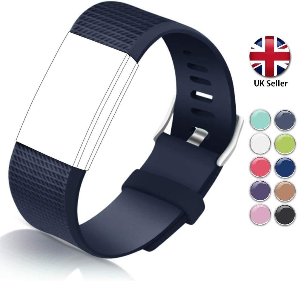 STAY Active Correas de Recambio para Fitbit Charge 2, Reloj Inteligente y Deportivo para Mujer y Hombre | Marca del Reino Unido - Diamante de Silicona