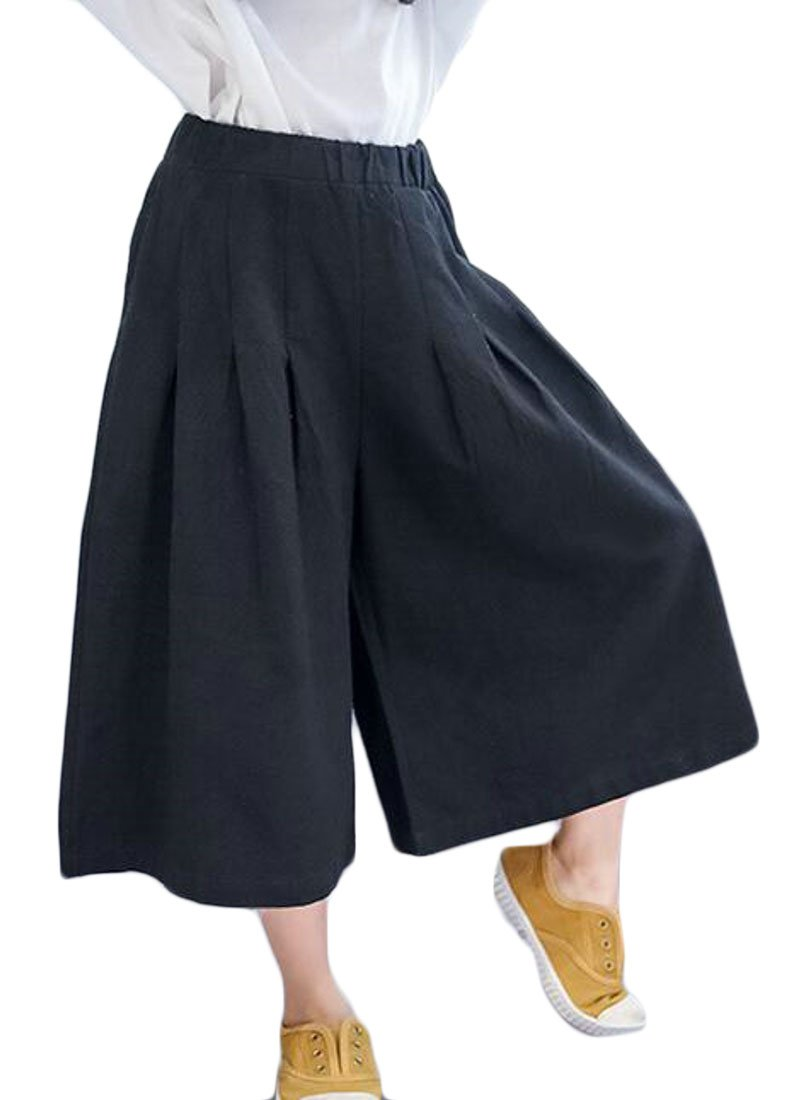 Pivaconis Girl Baggy Capri Pants Elastic Wasit Wide Leg Summer Casual Shorts