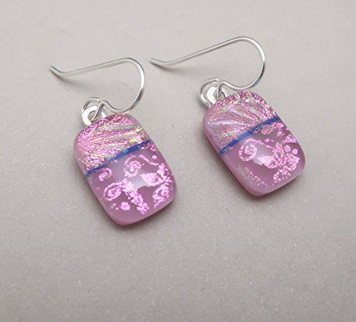 Modern Art magenta fused dichroic glass earrings sterling silver ear wires dangle drop pink glass jewelry