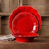 12-Piece Dinnerware Set, Crackle Glaze Finish, Red For Sale
