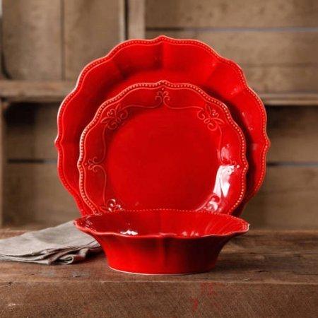 12-Piece Dinnerware Set, Crackle Glaze Finish, Red