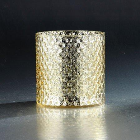 Diamond Star 57176 5.5 x 5.5 in. Glass Candle Holder44; Gold (Diamond Star Corp)