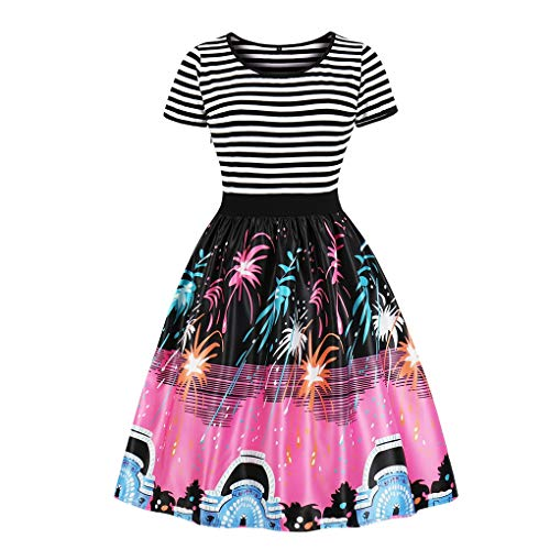 Fenxxxl Women's Crew Neck Sailer Striped Fireworks Printed Vintage Swing Christmas Dress F133-1689 2XL