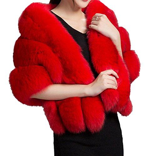 - Helan Women's Soft Long Faux Fox Fur Shawl Striped Red