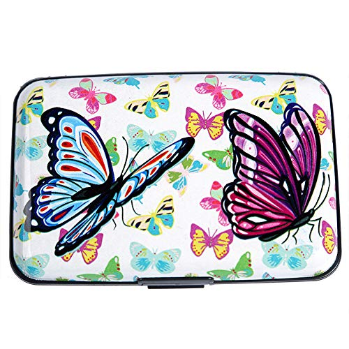 Credit Butterfly Card - Aluminum Wallet RFID Blocking Metal Credit Card Holder Slim Hard Case (Colored Butterflies)