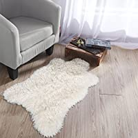 Ottomanson Flokati Collection Faux Sheepskin Lambskin Design Shag Rug, 2'X3'3, Ivory