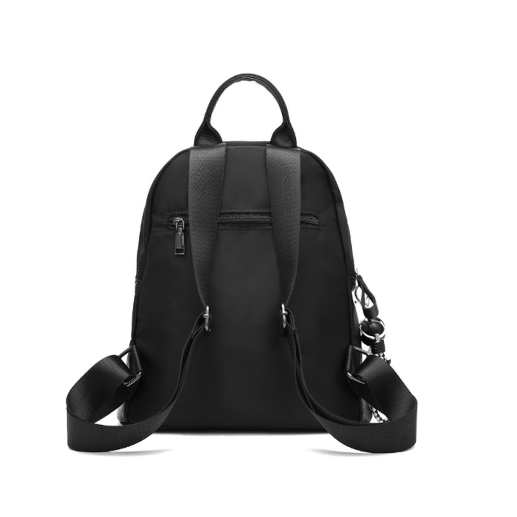Color : Black HUANGDA Ms Double Shoulder Backpack Oxford Nylon Canvas Bag Personalized Leisure Travel Backpack