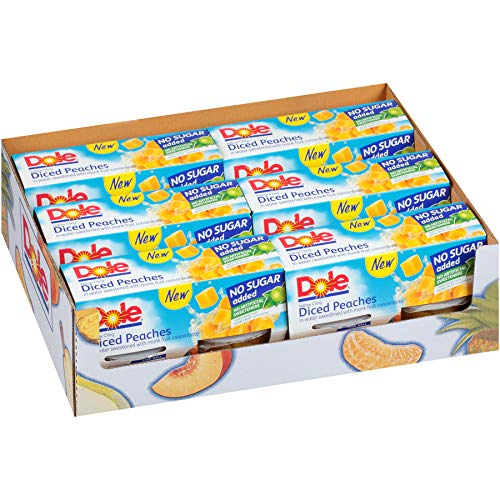DOLE FRUIT BOWLS No Sugar Added Yellow Cling Diced Peaches, 4 Cups (6 Pack)