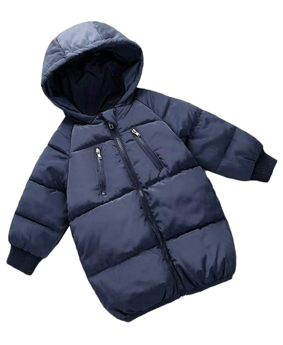 Pandapang Boy and Girl Warm Hooded Quilted Packable Down Jacket Parka Coat