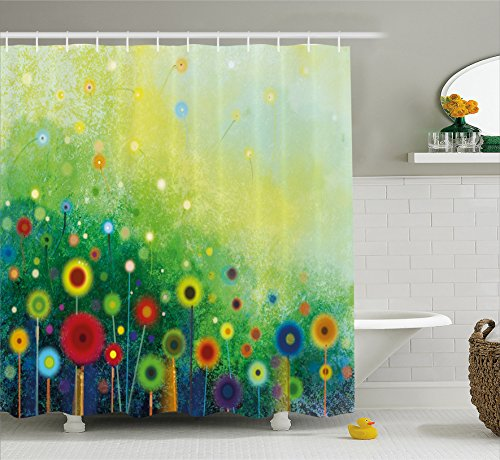 Ambesonne Watercolor Flower Home Decor Shower Curtain, Retro Round Seasonal Blooms Floret Petal Cloudy Botany Scenery, Fabric Bathroom Decor Set with Hooks, 75 Inches Long, Green -
