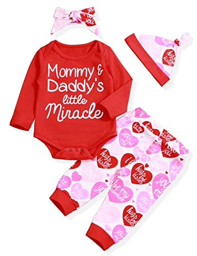 Valentine's Day Outfit Set Baby Girl 3 6 9 12 18 Months Mommy&Daddy's Little Miracle Romper My 1st Valentine's Day Clothes Set(0-3months) Red