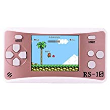 ZHISHAN Portable Handheld Game Console Gaming Player Birthday Gift for Kids Built in 168 Classic Retro Games (Rose Gold)