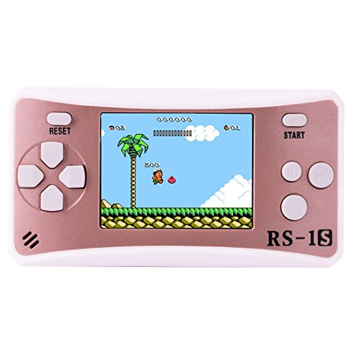Portable Handheld Game Console Gaming Player Birthday Gift for Kids Built in 168 Classic Retro Games (Rose Gold)