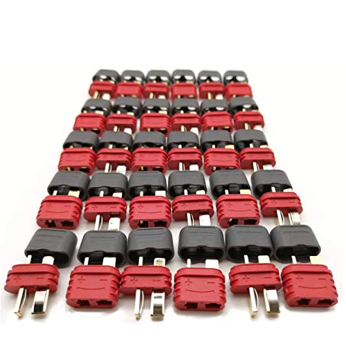 UEETEK 10 Pairs Ultra T-Plug Connectors Deans Style Male and Female with 20pcs Shrink Tubing For RC LiPo Battery