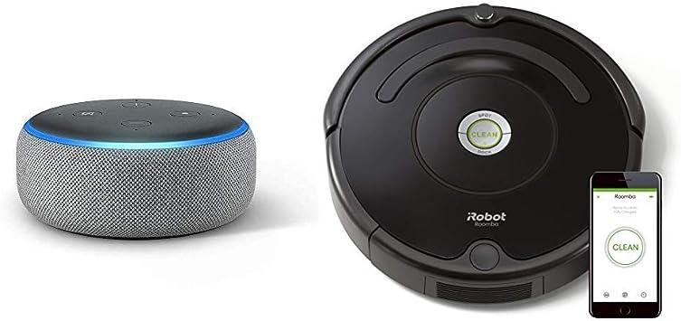 Echo Dot gris oscuro + iRobot Roomba 671 - Robot aspirador suelos ...