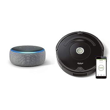 Echo Dot gris oscuro + iRobot Roomba 671 - Robot aspirador suelos duros y alfombras,