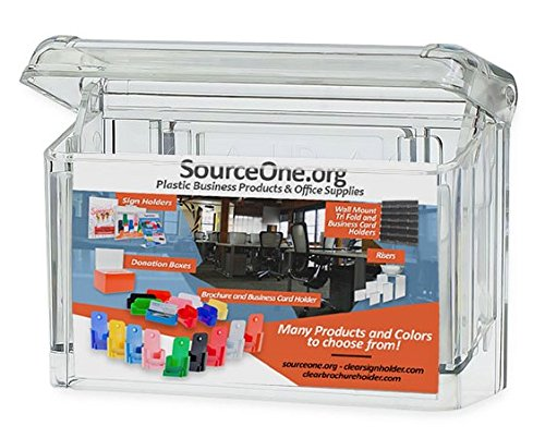 "Source One Premium Outdoor Business Card Holder Peel and Stick Clear Unbreakable "" Take One "" Sticker Included"
