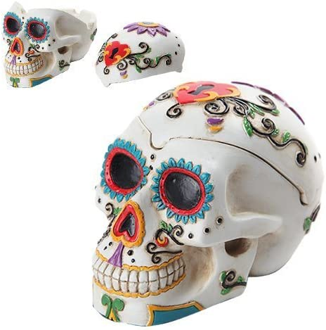 Day of The Dead Themed Skull Hand Painted Resin Ashtray White