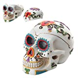 PTC Day of The Dead Themed Skull Hand Painted Resin Ashtray, White