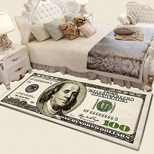 Pretty Comy Print Area Rug with Non-Slip Backing One Hundred Dollar 100 Bill Modern Home Decor Carpet Mat 100 Dollar Bill Design
