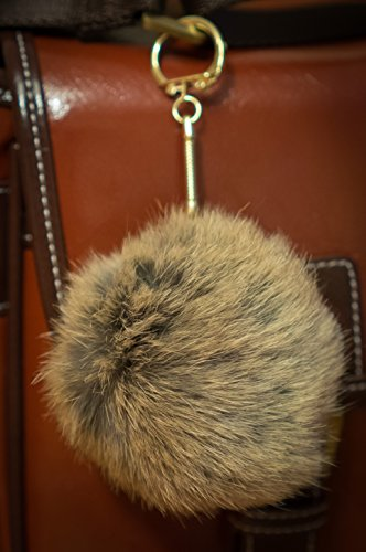 Tinted Mink 3 FOR 2! 8cm Gold Metal Clasp Keychain Keyring Pompom Ball Brown Real Fur 8cm Monster Soft Fluffy Charm Furry Friends Dangle
