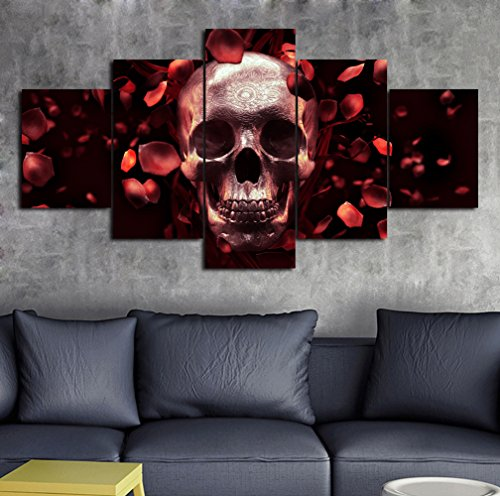 Canvas 5 Panel Wall Art Multi Piece Artwork Sugar Skull Feature Vintage Painting,Contemporary Pictures Abstract Artwork Framed Decor for Living Room Stretched Ready to Hang(60''Wx32''H) ()