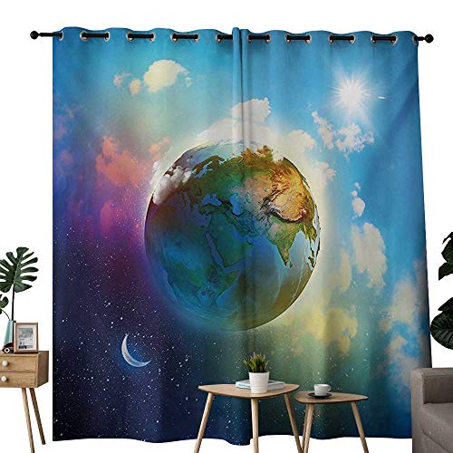 NUOMANAN Decorative Curtains for Living Room Earth,Earth Outer Space Scene in Vibrant Color Enchanted Cosmos Atmosphere Image Print,Blue Violet,Blackout Draperies for Bedroom 84
