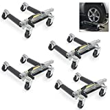 ARKSEN 12'' Hydraulic Car Positioning Dolly 1500LBS Auto Lift Jack Tire Roller Lot of 4