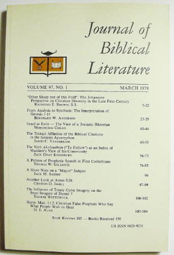 Journal of Biblical Literature (Volume 97 Number 1, March 1978)