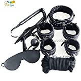 Adult Game 7Pcs Set Handcuffs Gag Nipple Clamps Whip Collar Erotic Toy Leather Fetish Sex Bondage Restraint Sex Toy for Couples Black