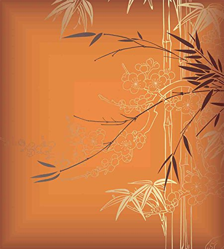 Ambesonne Bamboo Duvet Cover Set, Bamboo Branches Flowers Illustration in Vivid Color Eastern Nature Theme, Decorative 2 Piece Bedding Set with 1 Pillow Sham, Twin Size, Orange Yellow