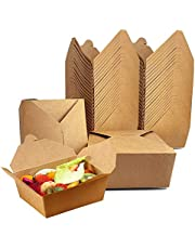 Take Out Boxes Microwaveable Kraft Brown To Go Boxes for Food Containers 27 Oz (25 Pack) Recyclable Cardboard Lunch Box - Take Out Containers Disposable - to Go Boxes for Restaurants, Delivery, Catering