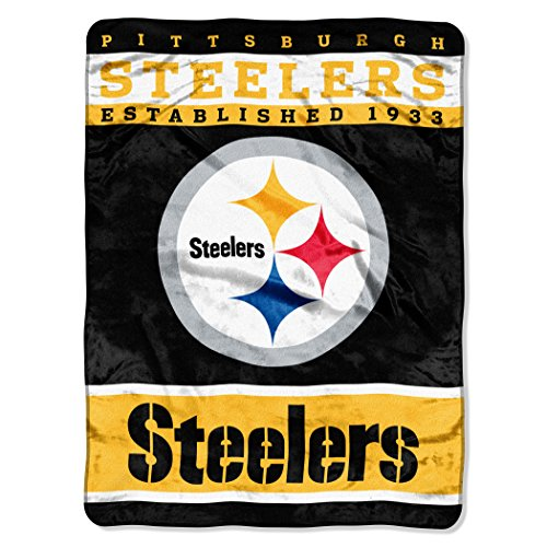 "The Northwest Company Officially Licensed NFL Pittsburgh Steelers 12th Man Plush Raschel Throw Blanket, 60"" x 80"""