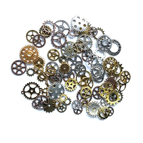 (Sumje 100 Gram Assorted Antique Steampunk Gears Charms Pendant Clock Watch Wheel Gear for Crafting, DIY Jewelry Mixed Color (Cogs Style))