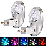 Plug in Night Light, Emotionlite LED Projector Nightlight, Multi Colored Rotates, Dusk to Dawn Sensor, for Kids Adults Bedroom Bathroom Hallway Stairways Kitchen Corridor, UL Listed, 2 Pack