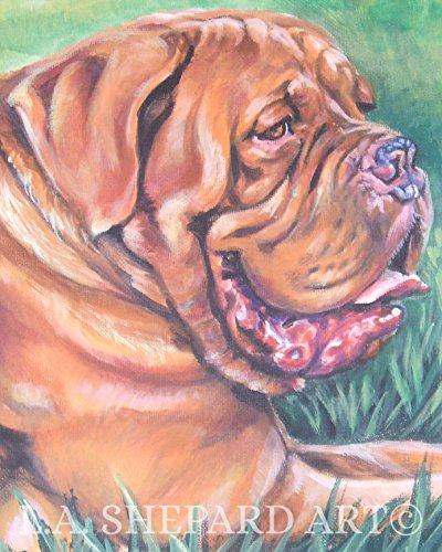 Bordeaux Stock - A Dogue de Bordeaux dog art portrait print of an LA Shepard painting 11x14