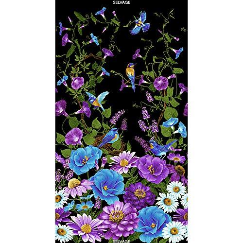 Daisies, Morning Glories, Lavender Zenias, Bluebirds, Black, Gold Metallic, Cottage Grove, Timeless Treasures, CM6622, Chong-a Hwang, 24-inch Panel