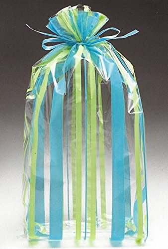 BnB Favor Bags Sweet Stripes Party Supply for Birthdays, Weddings, Holiday Candy Treats, Baby Shower, Bake Sales or Cookies, 11 inch H x 5 in W x 2.5 in D, Aqua Teal Blue and Lime Jade Green, 20 Pack (Wedding Iced Cookies)