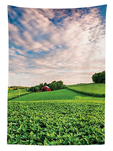 Pennsylvania House Rectangular Table - Farmhouse Decor Tablecloth Sunset Clouds Over a Farm in Southern York County Pennsylvania Nature Scenery Dining Room Kitchen Rectangular Table Cover