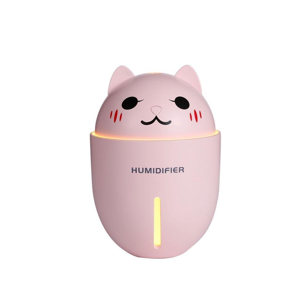 TEEPAO Cool Mist Humidifier, Portable USB Diffuser Humidifiers for Women Baby Kids Use on Desktop Car Bedroom, Small Cute Cat Shape Quiet with LED Light