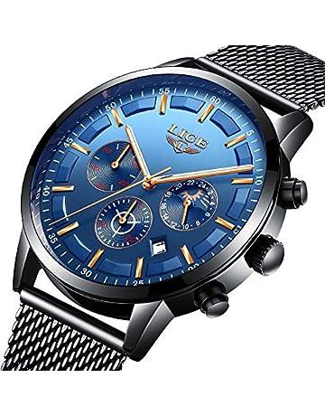 e4018c878c LIGE Mens Watches Fashion Waterproof Stainless Steel Analog Quartz Watch  Men Casual Sport Chronograph Date Black