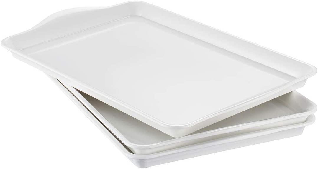 i BKGOO Foodservice White Plastic Tray with Handle Set of 3 Large Melamine Rectangular Serving Platters for Parties, Coffee Table, Kitchen Size(15.2