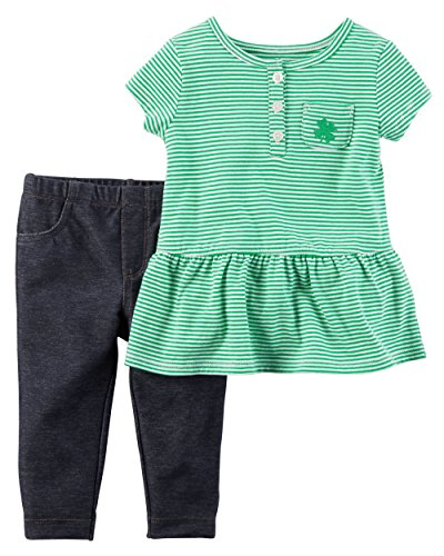 Carter's Baby Girls' 2-Piece Peplum Tee And Denim Set 3 Months