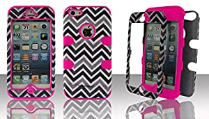 Apple iPhone 5c Chevron Gray Brown Hot Pink Gel Hybrid Snap-On Case Cover Defender Protector