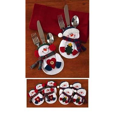 Snowman Christmas Dinner Flatware Holders, 8Pc